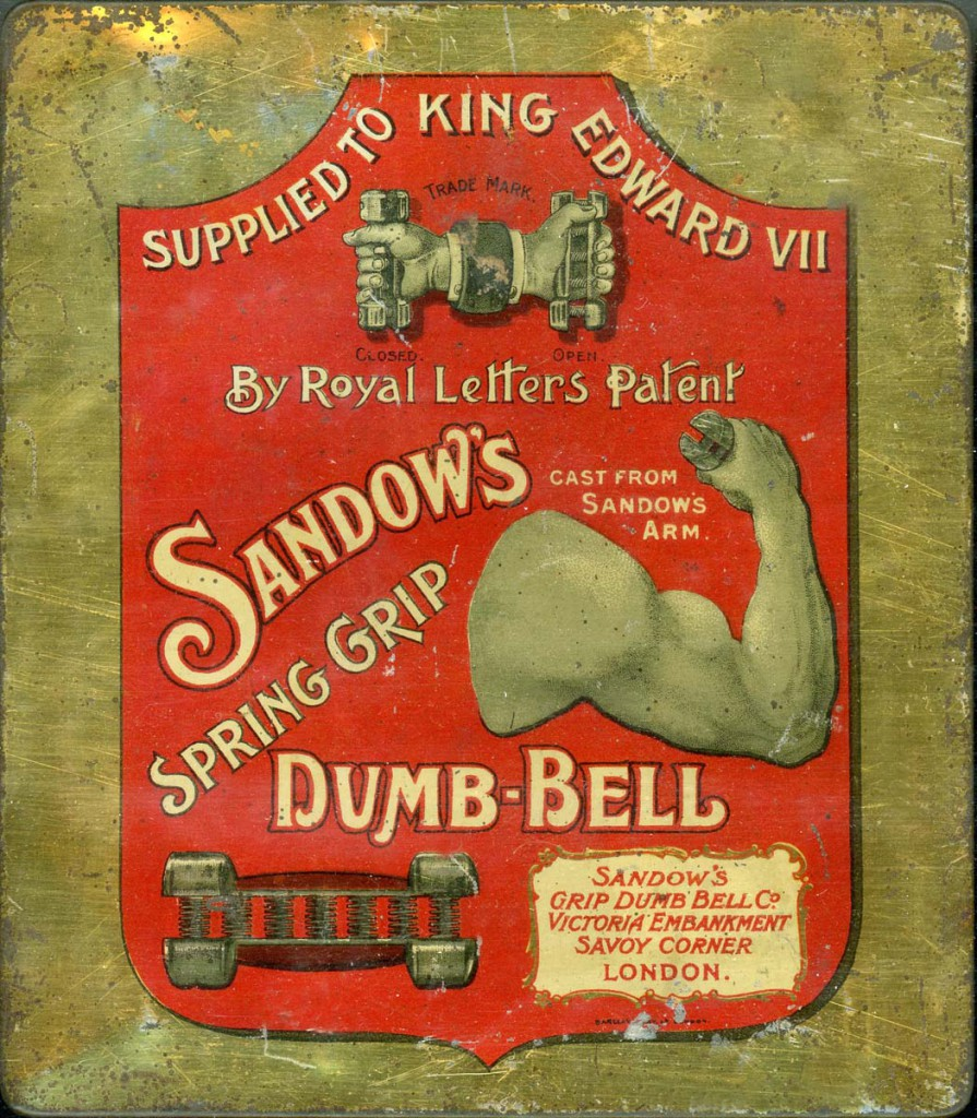 "A sign advertising Sandow's ""spring grip"" dumb-bells."