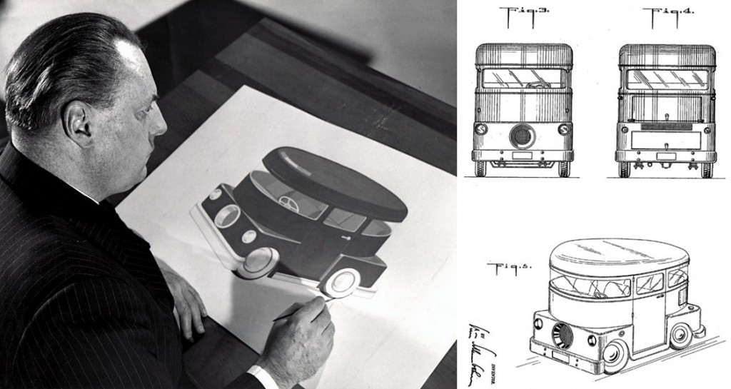 Left, Schlumbohm at the drawing board with a rendering of the Chemobile, and right, a section of the vehicle's patent sketch.