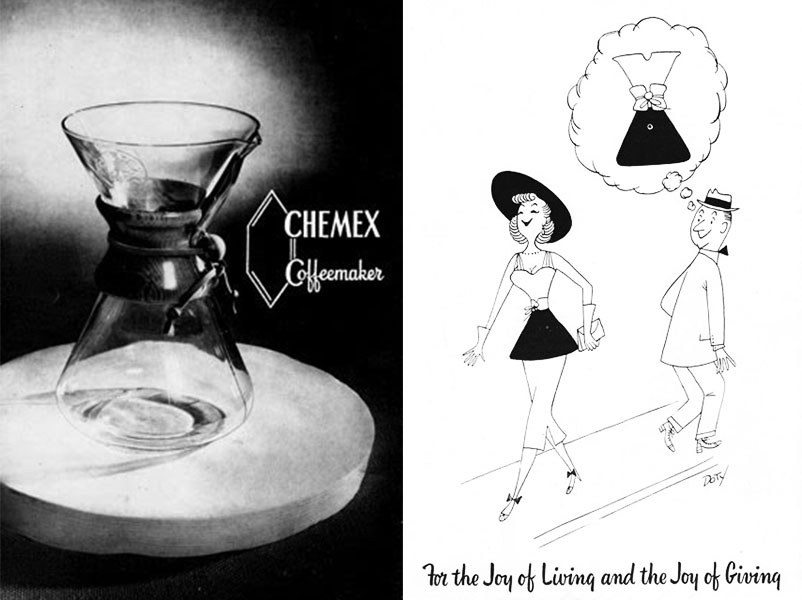 Top: Dr. Peter Schlumbohm inspecting his most famous creation. Above: Two early ads for the Chemex coffeemaker, circa 1950s.