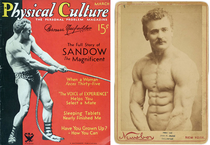 "Top: Sandow the strong man, by Herman John Schmidt, courtesy Alexander Turnbull Library. Above left, the March 1934 issue of ""Physical Culture"" featured the father of bodybuilding. Right, a cabinet card image of Sandow circa 1895."