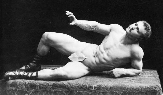 Sandow had no problem putting himself on a pedestal, literally, to be gawked at by paying audiences.