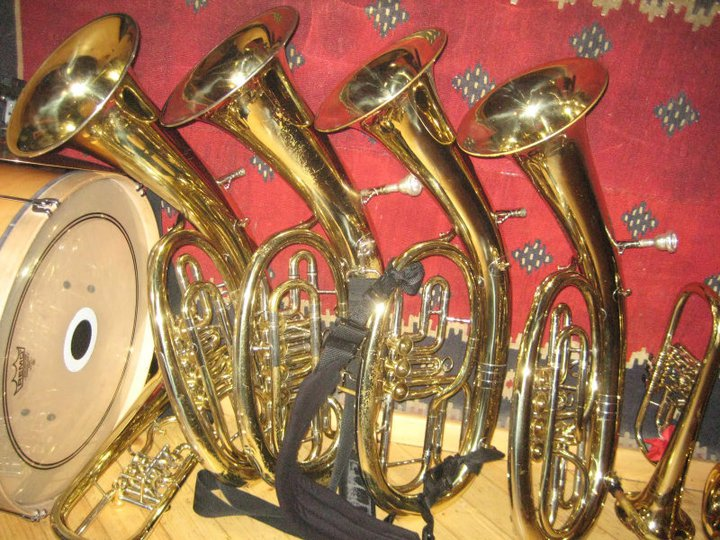 Some of Zlatne Uste's oval euphoniums flanked by a flugelhorn on the right and a bobanj on the left. (Via the Zlatne Uste Facebook page)