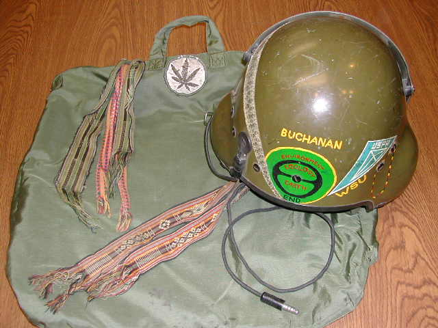 "Doug Buchanan, who had a viper skin on his helmet, said, ""While on the 707 flying across the pond, an Army Military Intelligence Captain sitting next to me asked me what unit the patch represented. I said it was a marijuana leaf. He sunk down in his seat and looked around. He was noticeably nervous the remainder of the long flight."" (Courtesy of Buchanan, via VHPAMuseum.org)"