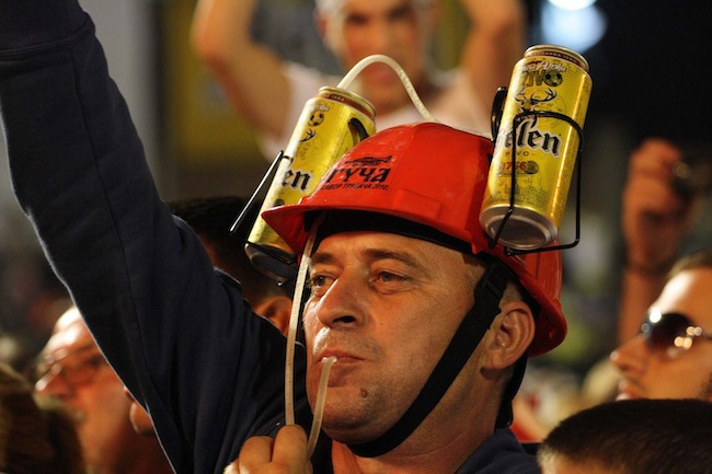 "Beer drinking is a big part of the Guča festival. (Still from ""Brasslands"" courtesy of the Meerkat Media Collective)"