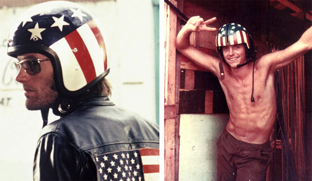 "Counterculture hero and biker ""Captain America,"" played by Peter Fonda in the 1969 film ""Easy Rider,"" at left, wore a very patriotic helmet—a style that was popular with men manning helicopters in Vietnam, like Bill Blackburn, at right. (Courtesy of Blackburn, via Joe Stone, via VHPAMuseum.org)"