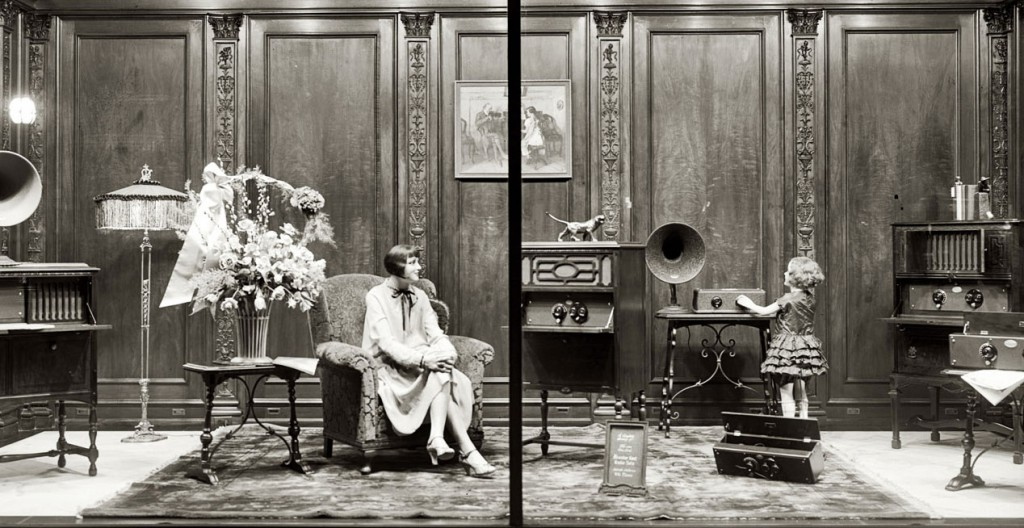 This extravagant window display for Atwater Kent radios in 1928 shows the heightened realism of many mannequins following World War I. Image via the Library of Congress.