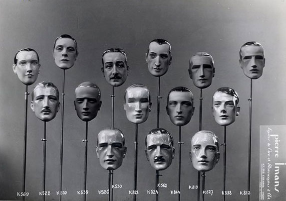 This selection of chiseled faces by Pierre Imans shows the limited range of emotion on male mannequins, circa 1930s.