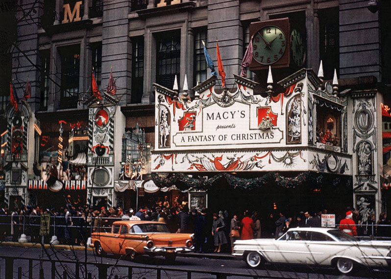 "Crowds form around Macy's storefront for ""A Fantasy of Christmas"" in 1959, which incorporated an ornate tin facade. Image courtesy Macy's."