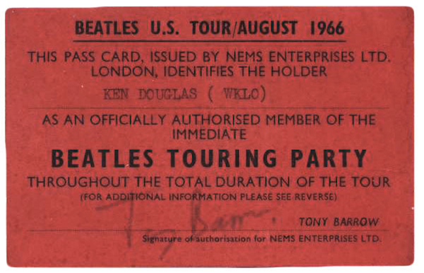 Gunderson's book features images of behind-the-scenes memorabilia, such as this press pass issued to disc jockey Ken Douglas of Louisville, Kentucky, radio station WKLO.