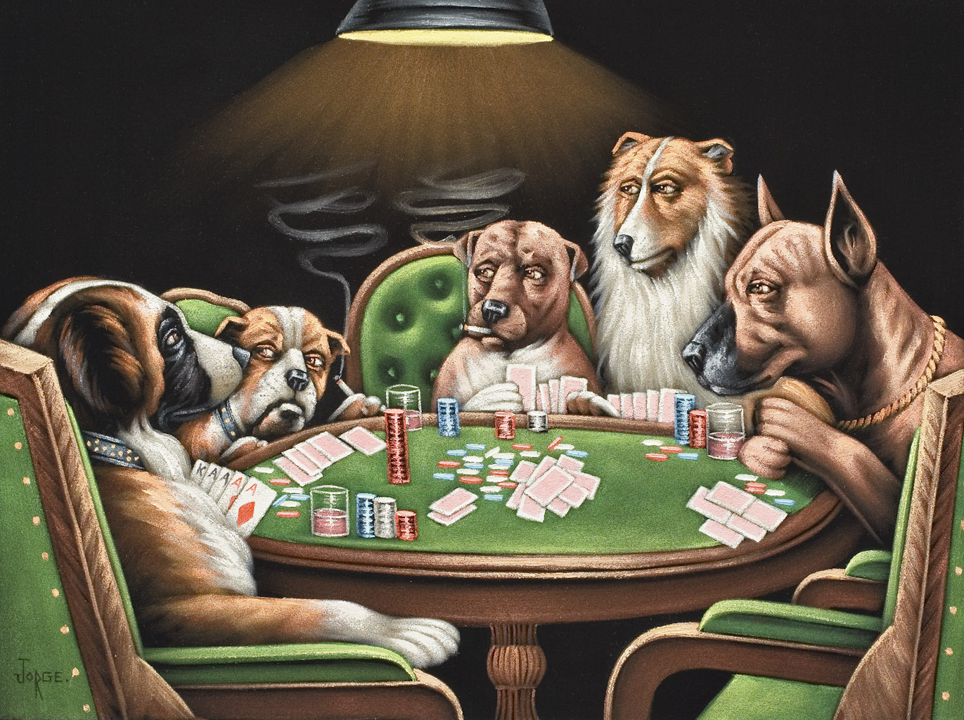 Dogs Playing Poker \u2013 Carolyn Dube