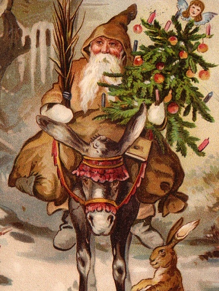 Belsnickel, one of St. Nicholas's helpers in the Germanic tradition, checked on children's behavior before Christmas. Here he carries switches in one hand and a feather tree in the other.