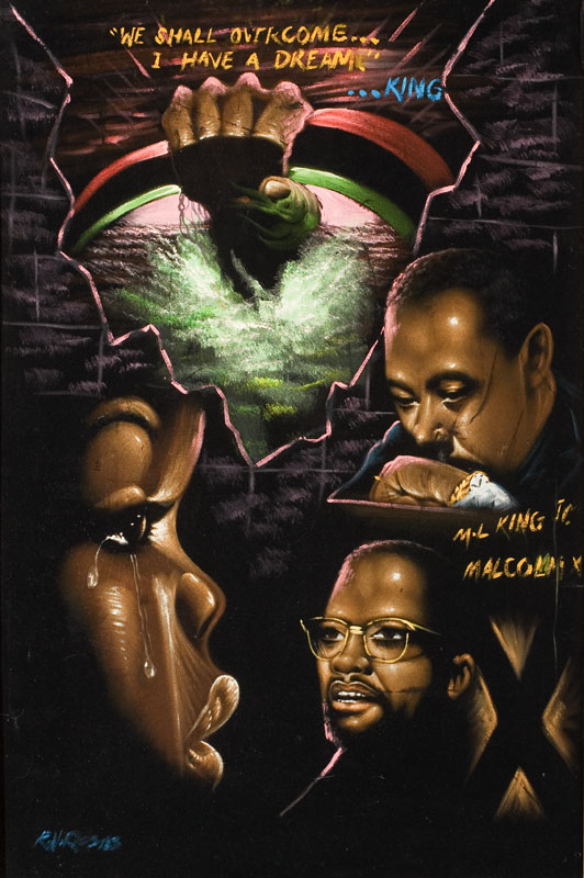 "The struggles of the civil-rights movement and its leaders, including Martin Luther King Jr. and Malcolm X, were captured in velvet. (Photo by Scott Squire from ""Black Velvet Art"")"