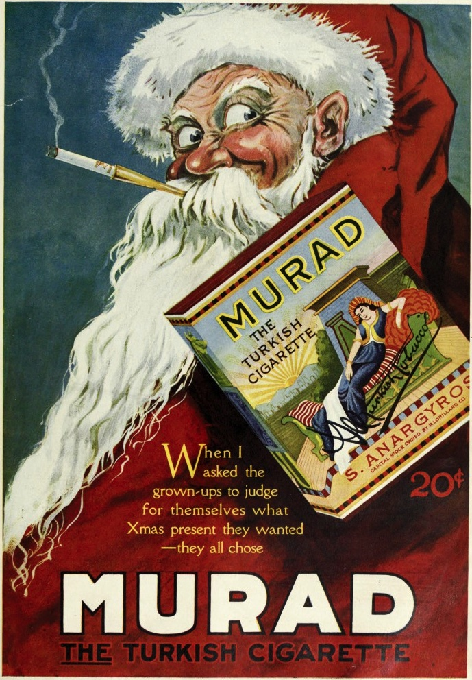 As early as 1919, American tobacco companies like Murad created ads showing Santa trading his pipe for cigarettes.