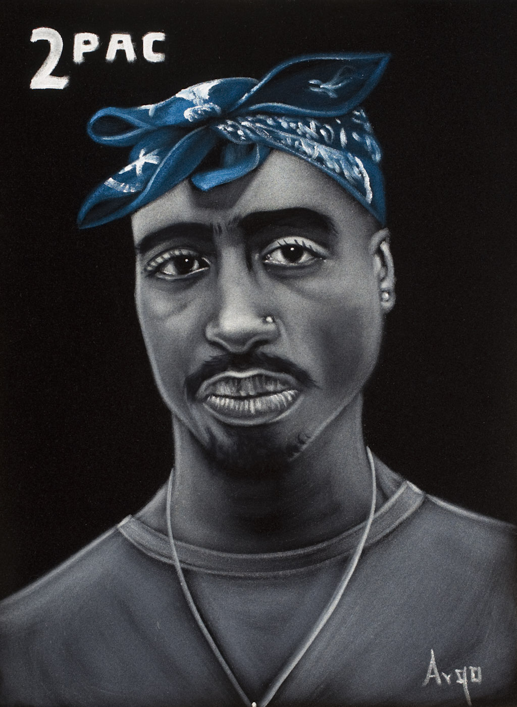 "Tupac Shakur is also a frequent subject of modern-day Mexican velvet paintings, like this work by Argo. (Photo by Scott Squire from ""Black Velvet Art"")"