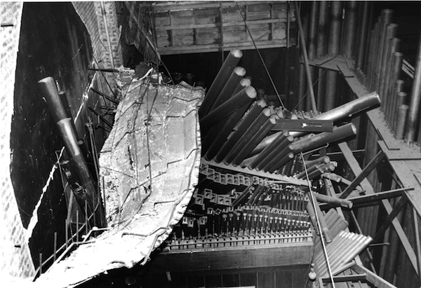 The 1989 Loma Prieta earthquake sent a wall of the Civic Auditorium crashing down on its pipes, baffles, and air box, all of which, by a cruel trick of fate, had only recently been restored. Photo: Charles Swisher.