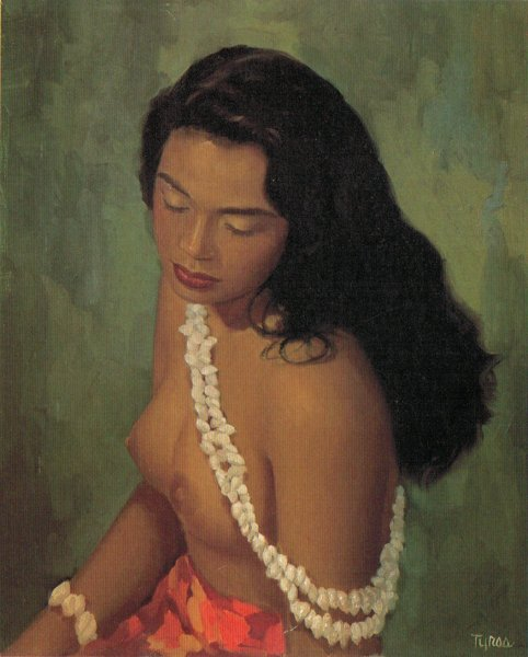 "Ralph Burke Tyree's ""Local Girl,"" circa 1950, is an example of the South Pacific school of velvet painting pioneered by Leeteg. (From Don Severson's ""Finding Paradise: Island Art in Private Collections,"" via WikiCommons)"