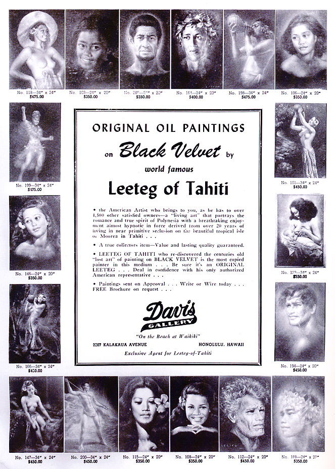 "An ad for Aloha Barney's Davis Gallery featuring velvet paintings from Leeteg of Tahiti. ""Hina Rapa"" can be seen in the top left corner. (Via MuseumofWonder.com)"