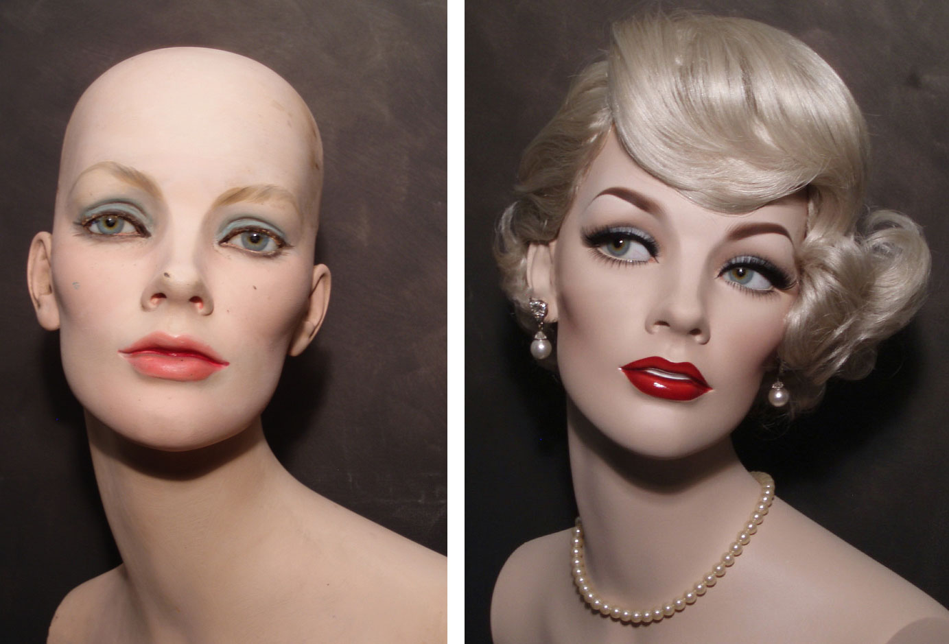 Vintage Mannequin Head Before and After