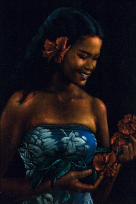 One of the many beautiful Tahitian women Leeteg painted. (Courtesy of Brigham Young University Art Department Collection)