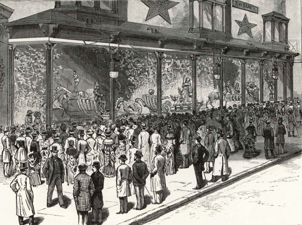 An early rendering of the decorative display at R.H. Macy's in New York City, circa 1884.