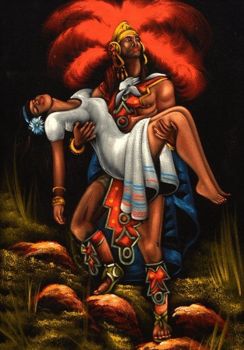 "Today, Mexicans are more likely to buy velvet paintings of Aztec legends, like the star-crossed love story of Popocatépetl and Iztaccíhuatl. (From the Velveteria collection in ""Black Velvet Masterpieces"")"