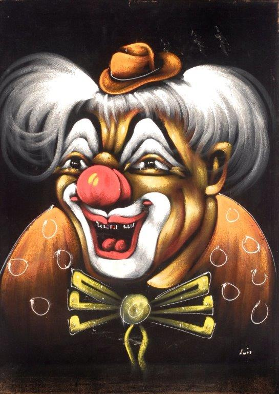 "The kid who had this clown in his or her room probably had a hard time sleeping. (From the Velveteria collection in ""Black Velvet Masterpieces"")"