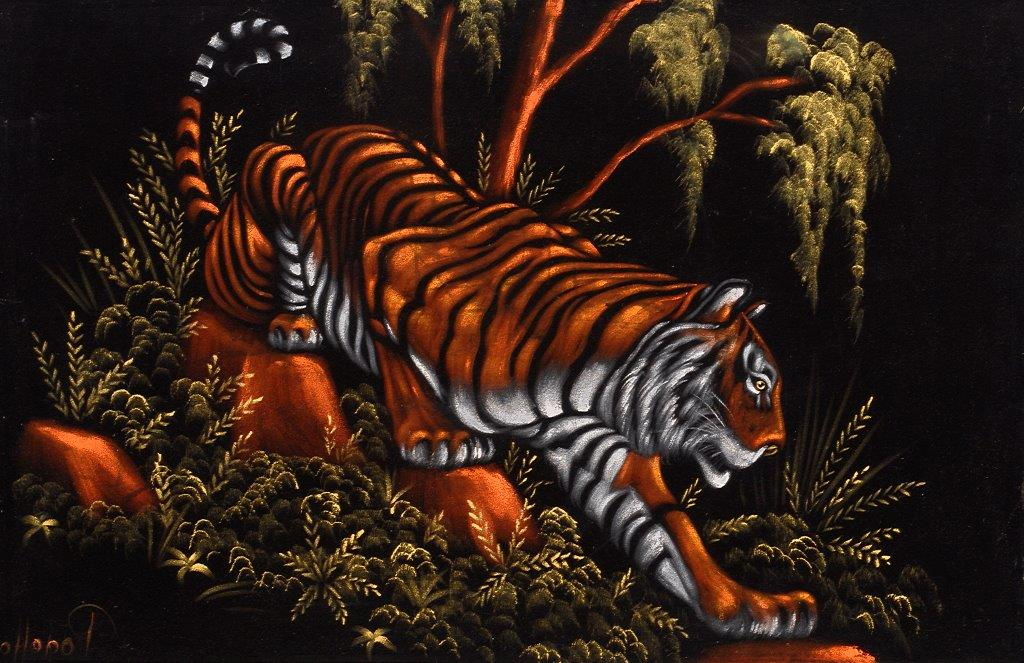 "Top: In the 1970s, matador paintings were popular with American tourists, who were looking for a souvenir that ""felt like Mexico."" (Photo by Scott Squire from ""Black Velvet Art"") Above: A tiger burns bright in a 1970s velvet by Pogetto. (From the Velveteria collection in ""Black Velvet Masterpieces"")"