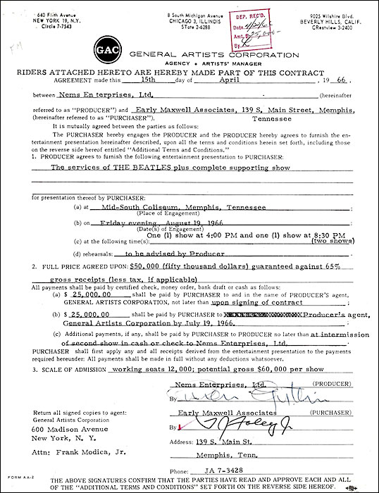 This 1966 contract for two performances in Memphis, Tennessee, guarantees The Beatles and its supporting acts $50,000.