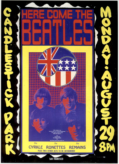 In 1966, local promoters hired psychedelic rock artist Wes Wilson to design a poster for what would be the last performance by The Beatles.