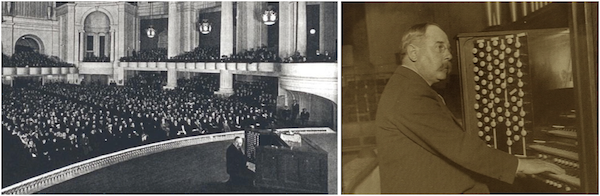 Above: In 1915, the great Edwin H. Lemare played the Exposition Organ to packed houses in Festival Hall. Top: Lemare beneath the organ's display pipes, the longest of which is 32 feet.