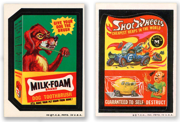 Two more of Schools's favorite Wacky Packages, including one that spoofs Hot Wheels.