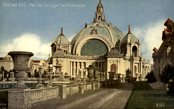 A postcard of Festival Hall, which was demolished after the Exposition.