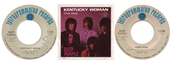 "Deep Purple's ""Kentucky Woman,"" written by Neil Diamond, was Schools's first 45."
