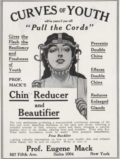 Ads in 19th century magazines sold devices to reshape one's face.