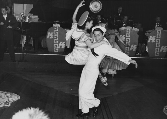 Top: Mai Tai Sing and the chorus-line dancers in a 1940s Forbidden City publicity shot. Above: Tony Wing and partner tear up the dance floor at the Kubla Khan in the 1940s.