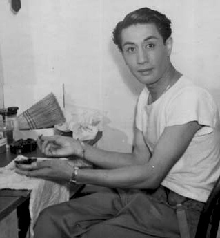 Tap dancer Tony Wing in his dressing room.