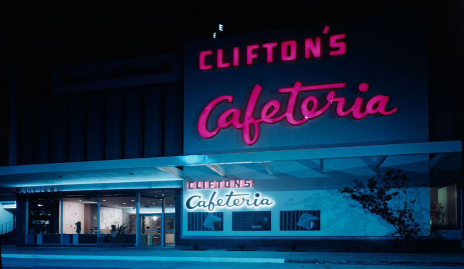 The Clifton's Cafeteria in the West Covina, California, shopping center featured Googie-style signage.