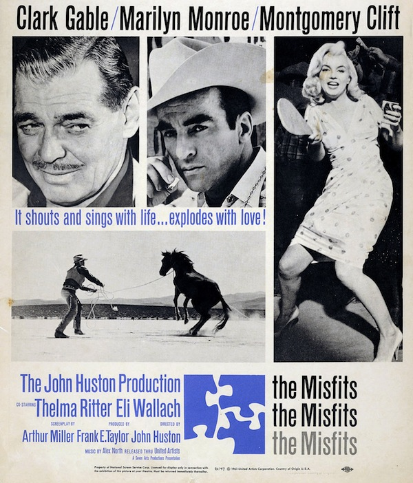 "John Huston's ""The Misfits,"" 1961, is set on a Reno divorce ranch. It was the last film for both Clark Gable, who got his own Nevada divorce in Las Vegas, and Marilyn Monroe, whose marriage to the film's screenwriter, Arthur Miller, was on the rocks during filming."