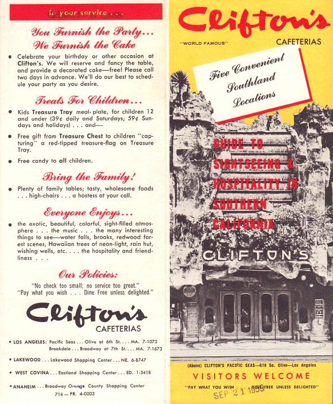 A brochure from the Clifton's chain in 1959 highlights the company's signature ethos.