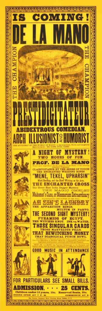 A circa-1877 broadside for De La Mano, the magician that mysteriously disappeared. Courtesy Zack Coutroulis.