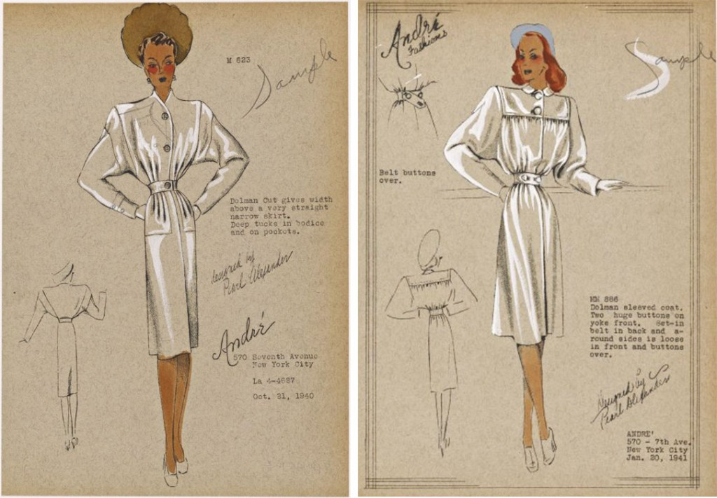 Two coat-dress illustrations for the André label show the stylish dolman sleeve and feature prominent buttons, circa 1941. Via nypl.org.