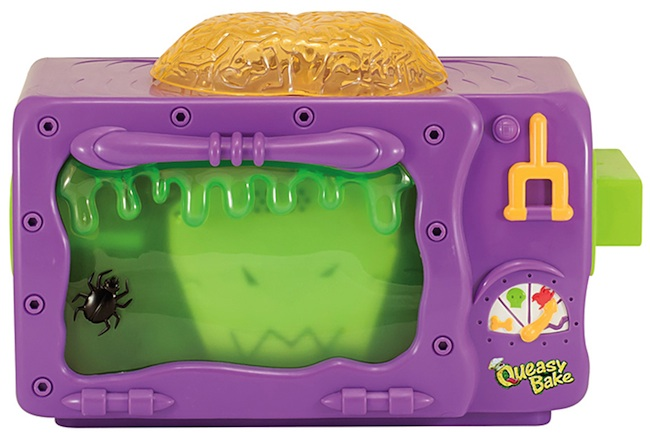 The 2002 Queasy Back Cookerator was marketed exclusively to boys. The mix names are meant to sound disgusting, but they actually just make normal cakes and candies. (Courtesy of Coopee)