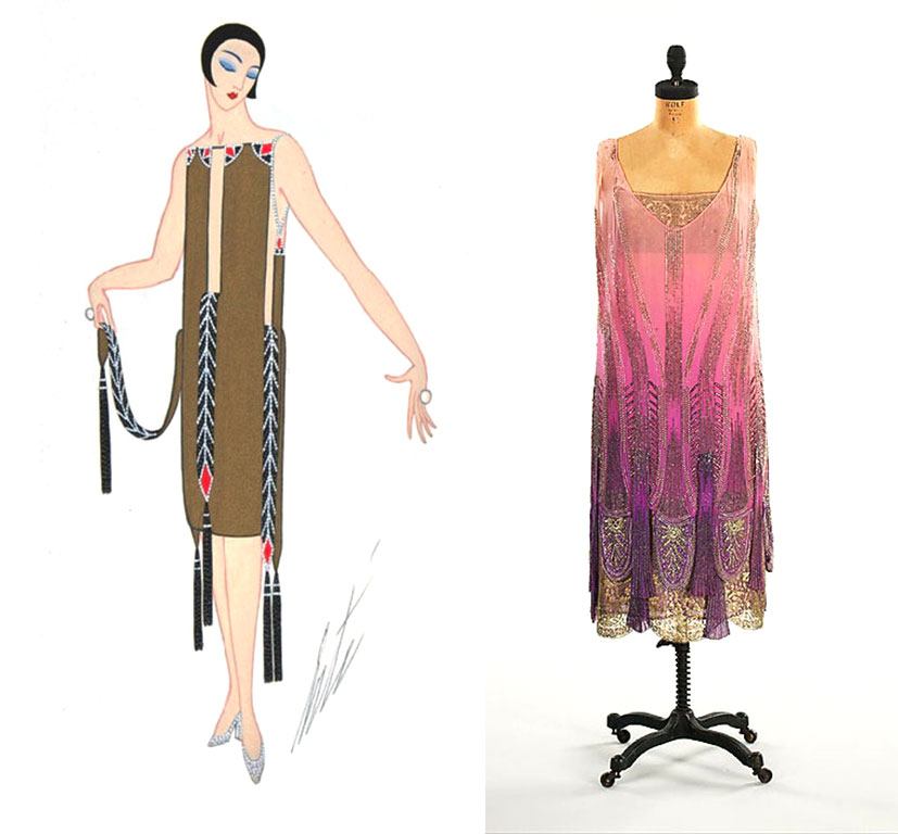 Left, an illustration by the French artist and designer Erté, circa 1927. Right, a dress made in the popular sack-like shape with heavy layers of intricate beadwork, circa 1925. Via metmuseum.org.