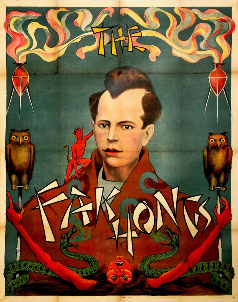"A circa-1930 stone lithograph for a magician troupe called ""The Fak Hongs."" Courtesy Zack Coutroulis."