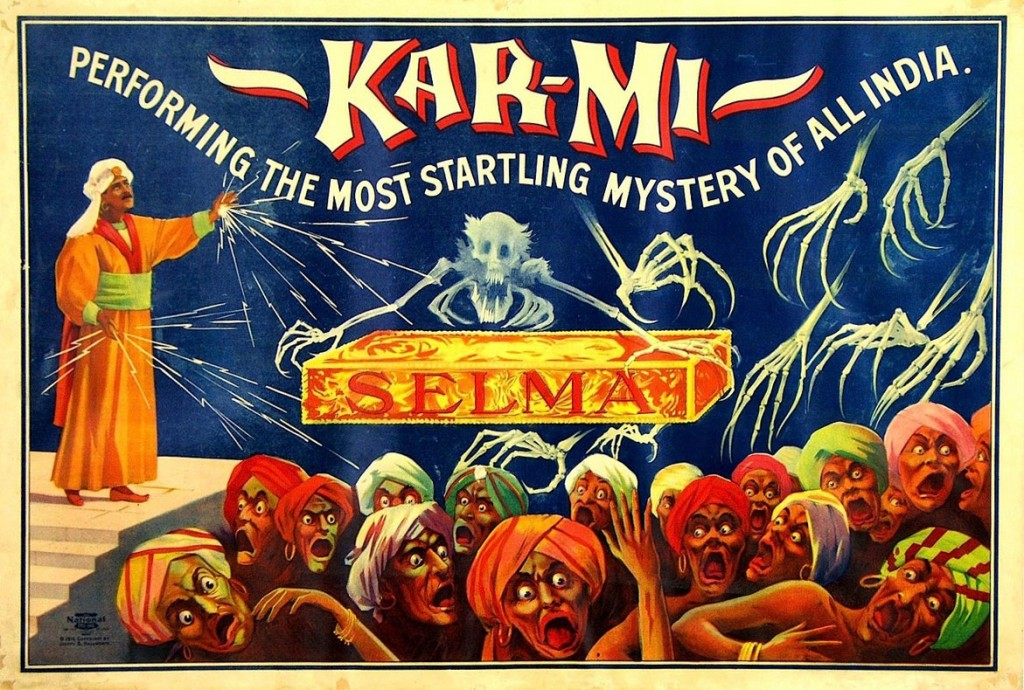 This poster for the magician Kar-Mi, aka Joseph Hollingsworth, highlights the frightening intensity of his otherworldly shows, circa 1914. Courtesy Zack Coutroulis.