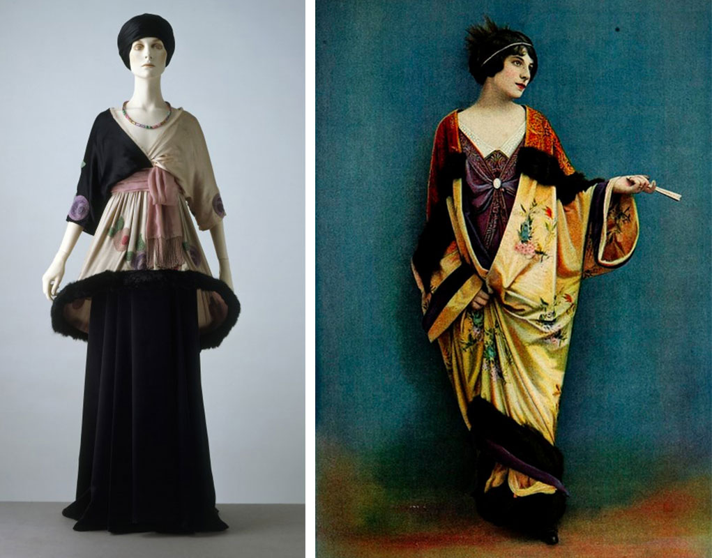 Left, Poiret's famous lampshade dress circa 1912. Via the vam.ac.uk. Right, an Asian-inspired robe is worn over a slimmer skirt in this outfit by Madeleine Laferriere from 1912.
