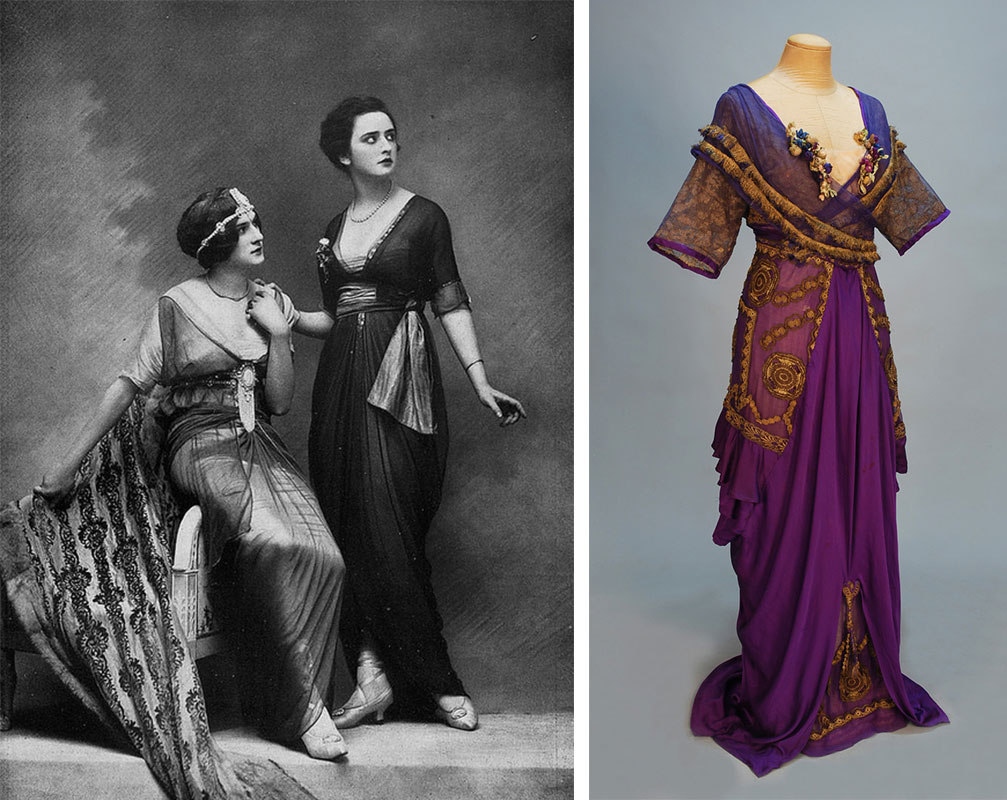 Left, models wearing dresses and sheer tunic coverings by the London-based designer Lucile. Via .pintuck on flickr. Right, a spectacular purple Lucile gown from 1911.