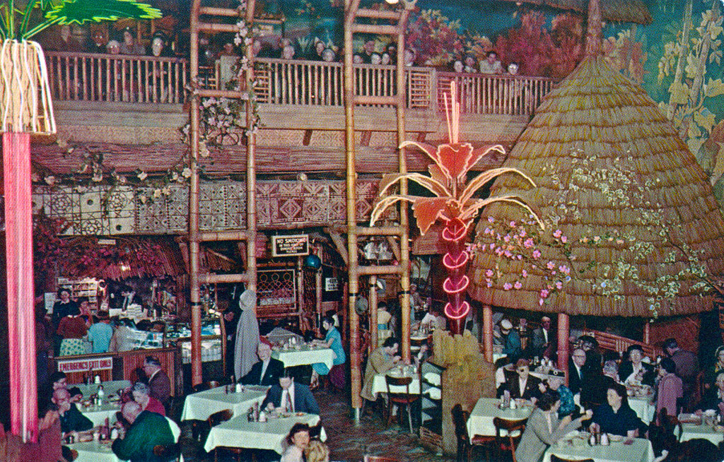The flashy décor at Clifton's Pacific Seas restaurant even included neon palms.