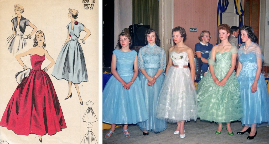 Left, pattern makers like McCall's and Vogue made the New Look available to middle-American women, like this set from 1953. Right, teenage girls at a high-school dance in monochromatic, multi-textured dresses, circa 1956. Via shorpy.com.