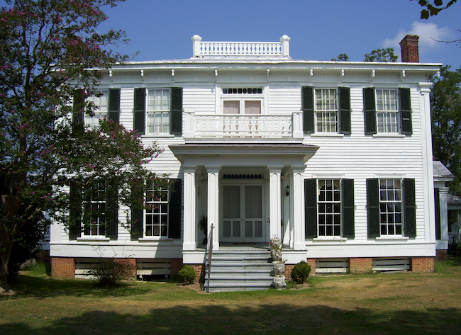 Buckner Hill Plantation has one of the largest antebellum plantation homes in North Carolina, built by enslaved African Americans in 1855. The mansion is big enough to have four chimneys. (Photo by Arnold Modlin)